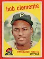 1959 Topps #478 Roberto Clemente VG+ WRINKLE MARKED Pittsburgh Pirates FREE S/H
