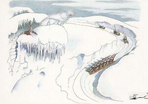 Kunstkarte / Postcard Art -  Ernst Kreidolf - Schneewittchen bei Schlittenfahrt