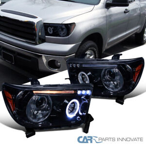 Glossy Black For Toyota 07-13 Tundra Sequoia Tinted LED DRL Projector Headlights