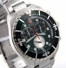 Swiss Military Hanowa 06-5269.04.006 caballeros reloj Chrono acero inoxidable verde Nuevo
