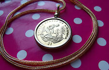 "PROOF 2009 SACAGAWEA DOLLAR CHARM a 28"" Gold Filled FoxTail Chain."