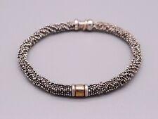 Michael Dawkins Sterling Silver Bead Ball Woven Link Chain Bracelet 7.5 Inch