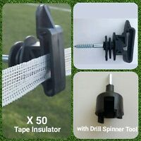 50 x Electric Fence Screw Tape Insulators 20mm 40mm Fencing with Drill Tool