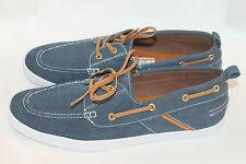 New Classic Zara Men Boat Shoes Canvas Blue Sz 12 Light White Rubber Sole