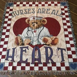 Vintage NURSES ARE ALL HEART Teddy Woven Tapestry Effect Blanket/Throw