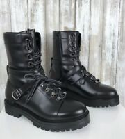 $1575 VALENTINO Rockstud Black High Top Combat Lace Up Zip Buckle Boots 38 NEW