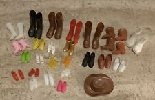 Lot Of Vintage Doll Shoes Cowboy Boots Hat Ken Barbie and more 80's