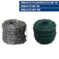 ROTOLO FILO SPINATO ZINCATO PLASTIFICATO PER RECINZIONE RECINTO 32841V