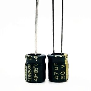 47µF 50V High Temp Electrolytic Capacitors. Low ESR 5, 10, 20 or 50 pack. 47uF