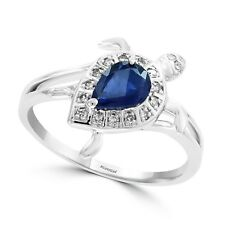 EFFY white gold 14K size 7 ring with a sapphire center stone, 0.71 TCW