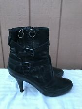 ASH PENNY Black Leather Ankle Boots EUR 38 US 8 Zippers Straps Buckles Heels