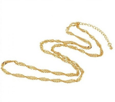 Ladies 22k Yellow Gold GP Adjustable Twisting Chain Link 3mm Necklace N58