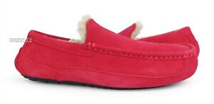 UGG Ascot Samba Red Suede Fur Slippers Mens Size 11 *NEW*