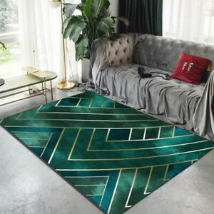 Nordic Luxury Dark Green Gold Line Carpet Living Room Modern Room Decor Area Rug