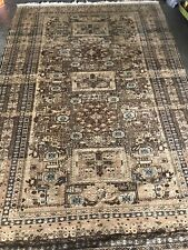 Vintage MUTED GOLD Area Rug Distressed Oriental Wool Carpet Animals 5x 8'
