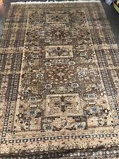 Vintage MUTED GOLD Area Rug Distressed Oriental Wool Carpet Animals