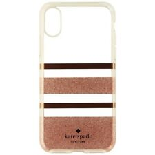 Kate Spade Flexible Hard Case for iPhone X 10 - Clear/Rose Gold/Glitter Stripe