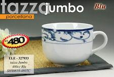 TAZZA JUMBO COLAZIONE THE IN PORCELLANA 480 CC DECORO ONDE BLU MANICO ELE-327933
