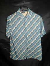 Vintage 90s BCBG MaxAzria M Mens Blue Beige Stripe Shirt Stretch Knit Short Slv