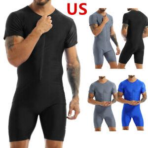 US_Mens Wrestling Singlet Sports Bodysuit Trunk Leotard Jumpsuit Underwear Zip