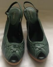 Topshop Green Leather Slingbacks Shoes. Size 6UK