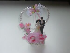 BRIDE & GROOM CAKE TOPPER WITH HEART & PINK ROSEBUDS & FLOWERS - 21cm TALL
