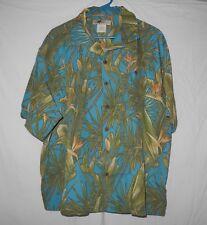 Joe Marlin XXL Hawaiian Camp Shirt Rock a Billy Teal Tan Free Shipping Men's