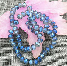 70pc 5x8mm Transparent blue Faceted Crystal Roundel Gemstone Loose Beads