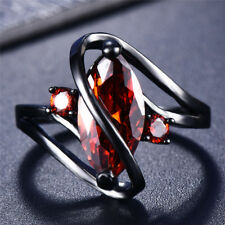 "Black Gold Marquise Cut Red Garnet ""S""Shape Woman Wedding Ring Jewelry Size 4-12"