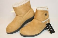 Vionic Vanah Tan Womens 7 38 Plush Microfiber Slippers Boots Ankle Booties