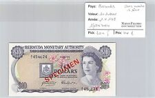 BILLET BERMUDES - 10 DOLLARS - 1.4.1978 - SPÉCIMEN - AVEC NUMÉROS DE SERIE
