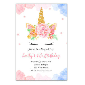 30 invitations cards unicorn face girl birthday baby shower pink blue gold