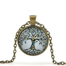 Fashion Women's Living Tree of Life Glass Cabochon Bronze Chain Pendant Necklace