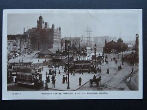 Bristol TRAMWAY CENTRE, HARBOUR & STEAM SHIPS Old RP Postcard by J.B.& S.C.