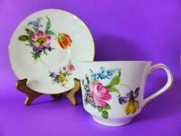 Large Floral Teacup and Saucer Set, Queens Vintage Bone China, Made In England