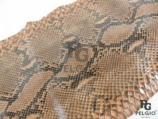 "PELGIO Genuine Reticulated Python Skin Leather Hide Pelt 10""x270cm Glossy Orange"