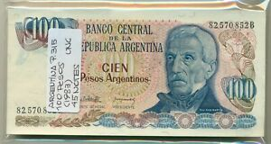 ARGENTINA BUNDLE 45 NOTES 100 PESOS (1983) P 315 UNC