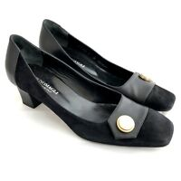 Bruno Magli Pumps Womens Size 9  Black Leather Suede Heels Gold Tone