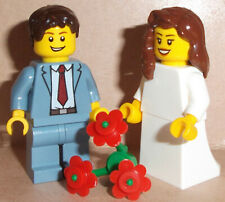 Lego Bride & Groom Wedding Minifigs with Flowers Changes Available See Pictures*