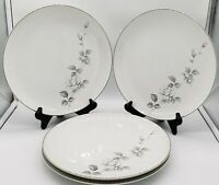 "Bristol Fine China Chateau Rose 10.25"" N 7038 4 Dinner Plates"