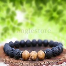 Mens 8mm Round Lava Rock Stone Charm Black Gallstone Reiki Beaded Bracelet New