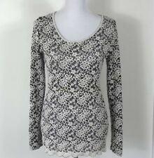 WetSeal Womens Sweater Size Medium Lace Floral Nylon Knit Long Sleeve Top