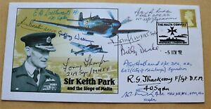 WW2 SIR KEITH PARK THE SIEGE OF MALTA 2002 COVER SIGNED BY 10 SIEGE VETERANS