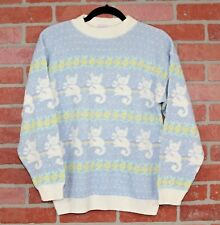 VTG ARIELLE 80s Long Sleeve Silver Sparkle Fairy Kei Pastel Cat Knit Sweater OS