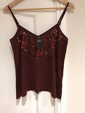 Hollister Ladues Wine Sequinned Strappy Top  Medium New