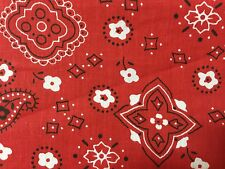 """Red Bandanna Print Poly Cotton Fabric - Sold By The Yard - 59"""""""