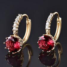 Retro Ruby Crystal 24K Gold Filled Women Lady Golden Wedding Hoop Stud Earrings