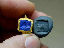 Egyptian Gold & Lapis Ring Engraved Apis Bull Image Late Period 716-30 Bc