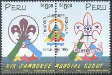 Peru 1999 Scouts/World Scout Jamboree/Scouting/Badge/Tents 2v s-t pr (n27990)