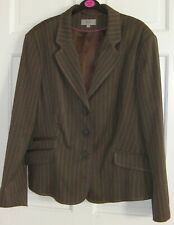 Ladies M&S Brown Pinstripe Jacket size 22 Fully Lined - Formal or Casual Wear
